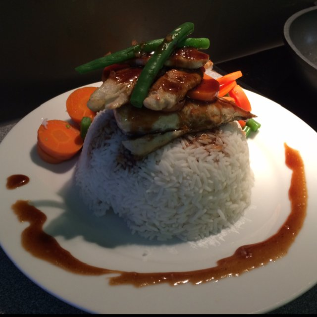 Bonito fish steak w/ rice