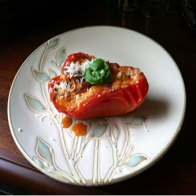 Chicken stuffed Bell Pepper
