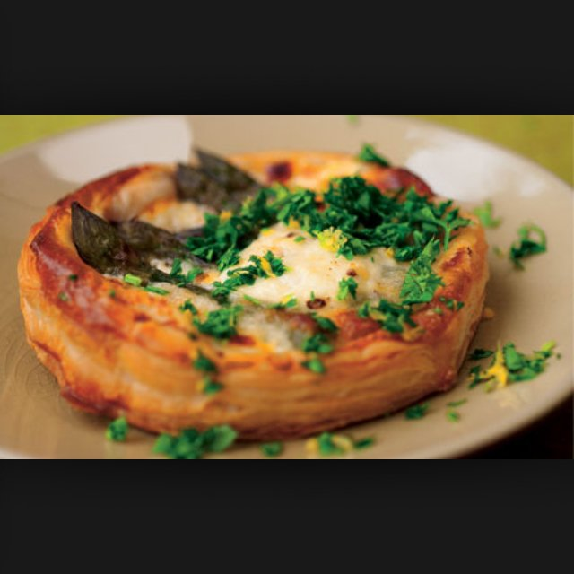 Asparagus/goat cheese tart –created on the CHEF CHEF app for iOS
