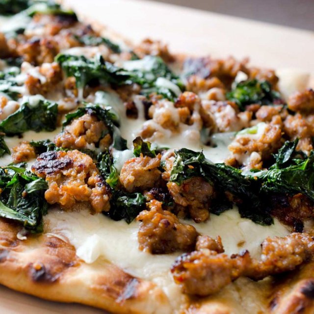 Sausage and Kale Pizza –created on the CHEF CHEF app for iOS