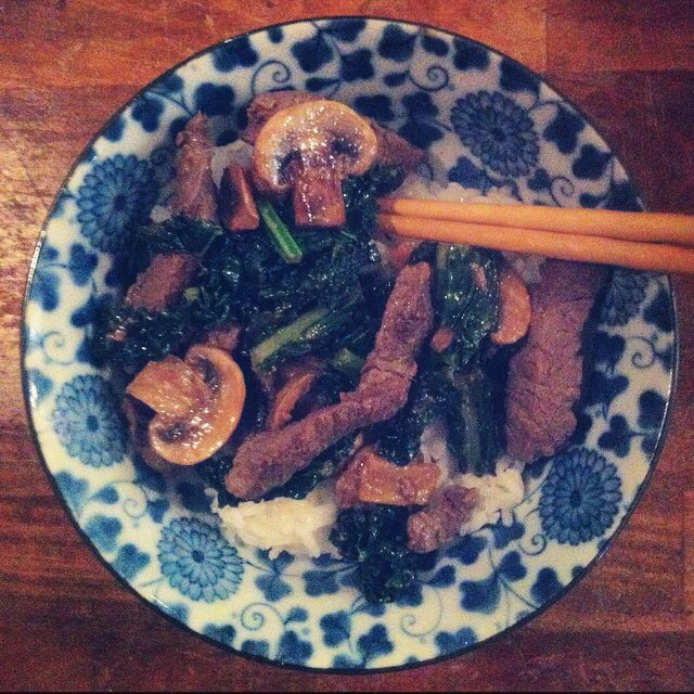 Ginger Beef, Mushrooms, Kale