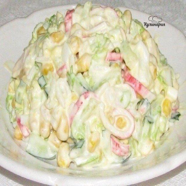 Рецепт крабового салата с кукурузой с