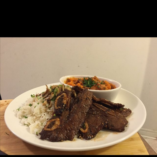 Kalbi short ribs/ sweet potato –created on the CHEF CHEF app for iOS