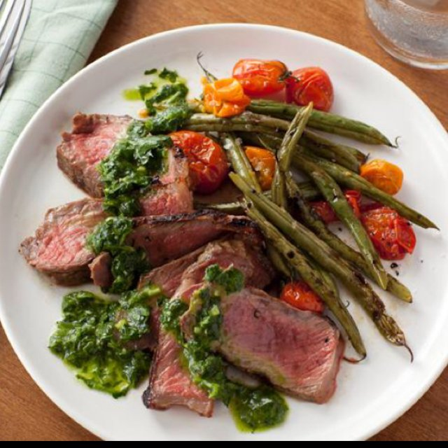 Grilled steak, with green bean